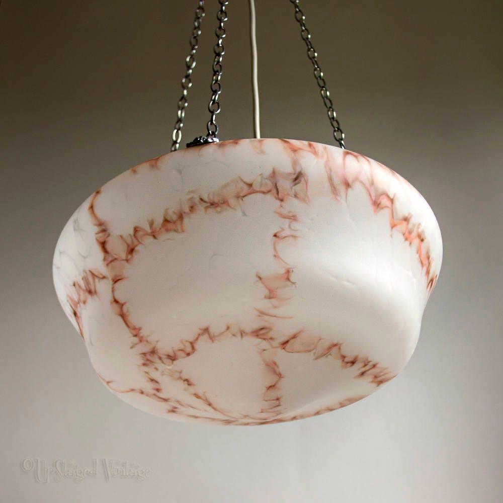 Vintage Antique 1930 Large Art Deco Marbled Vaseline Glass Light Lamp Shade Fitting