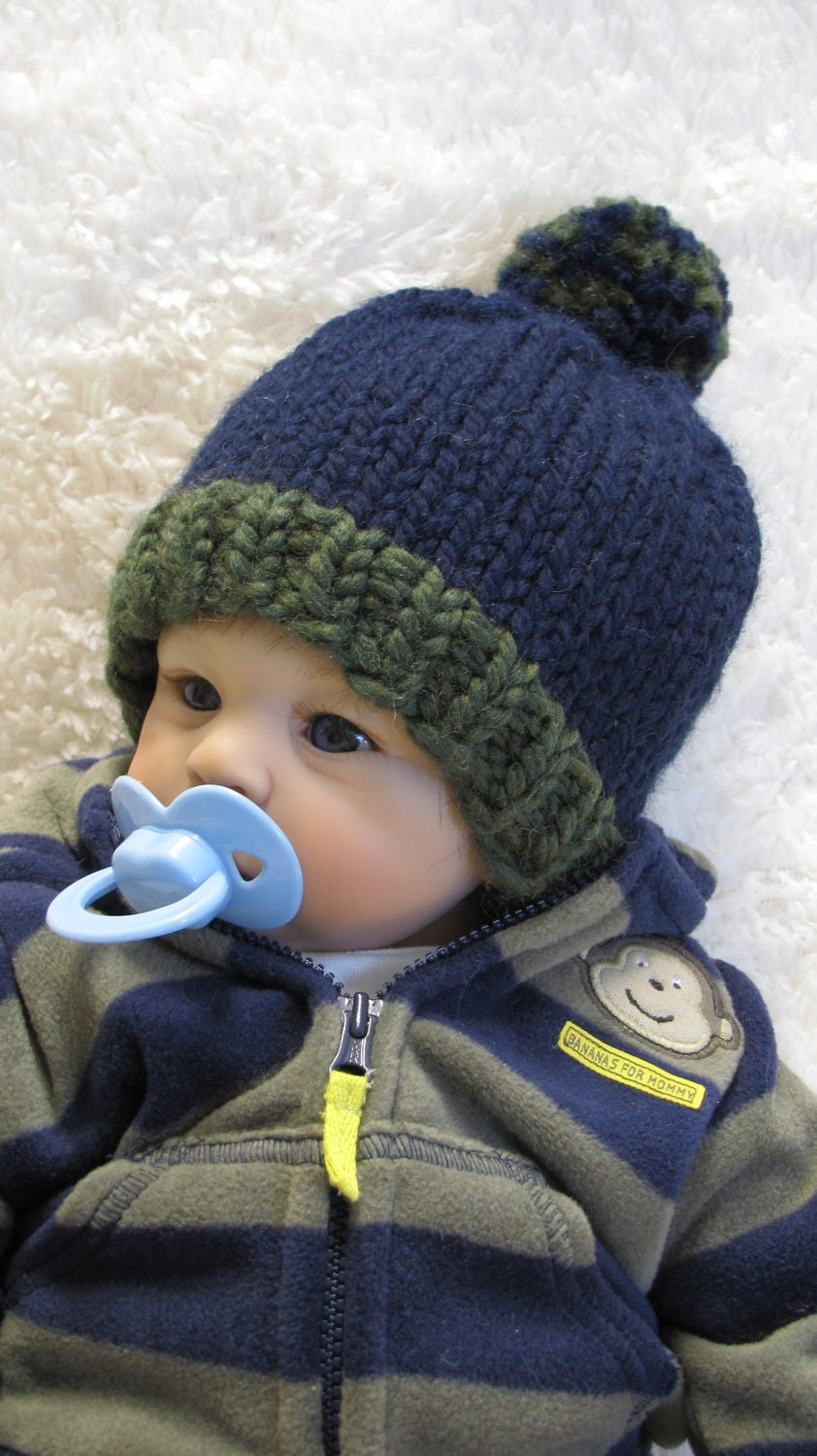 Knitting Pattern POM-POM Baby Hat PDF 3 Sizes by ezcareknits