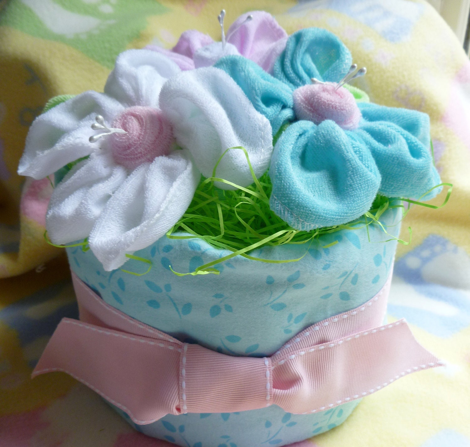 Flower Baby Shower Cake: Diaper Cake With 3 Flowers For Girl Boy Or By Mollbelldesigns