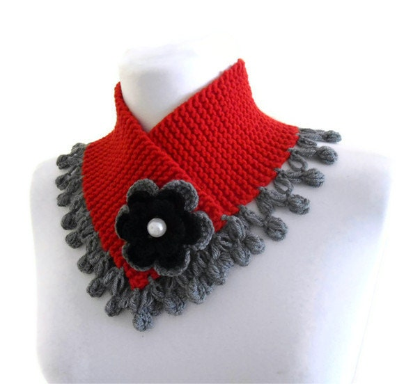 knitted neck warmer, knit collar, winter, hand-knitted, fashion,red and greey,christmas gift