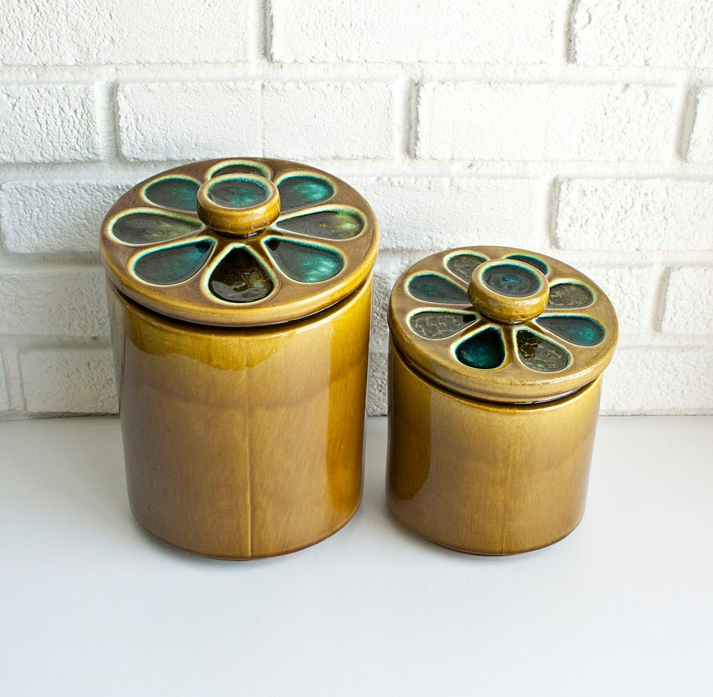 retro mod kitchen canisters by kibster on etsy
