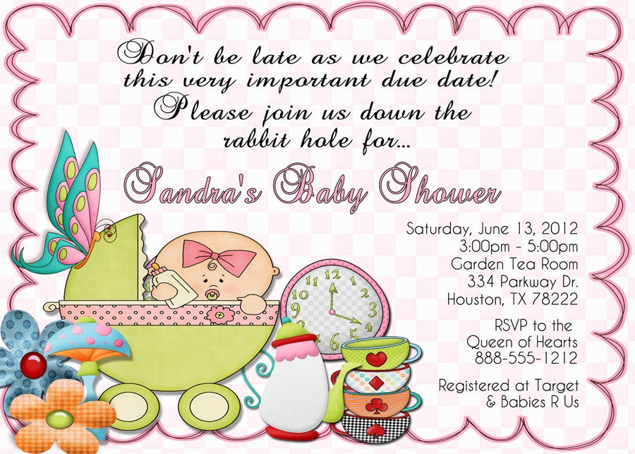 alice in wonderland baby shower invitation qty by debspartydesigns