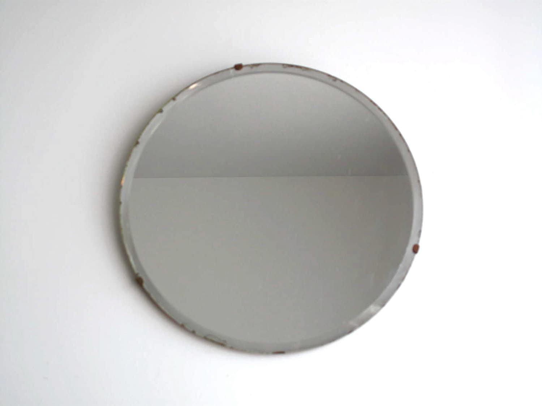 Vintage Round Wall Mirror - Frameless Beveled Bathroom Mirror ...