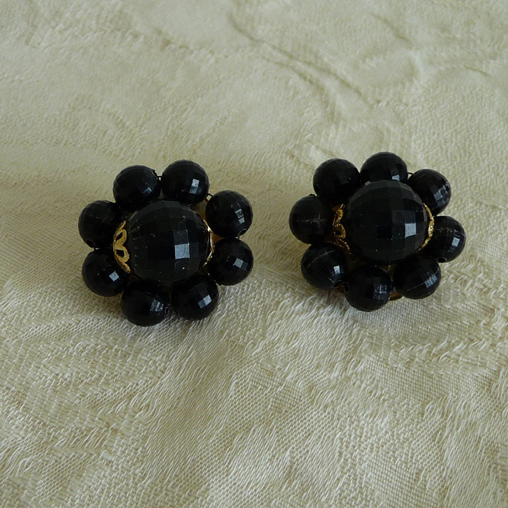 Vintage Gold Tone Black Plastic Beaded Clip On Earrings, Plastic Earrings, Clip Earrings, Clip On Earrings,VL031 - VLLDesigns