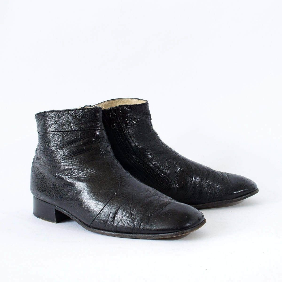Vintage Black Real Leather Chelsea Boots Womens UK 8.5 EU 42.5 US 10.5