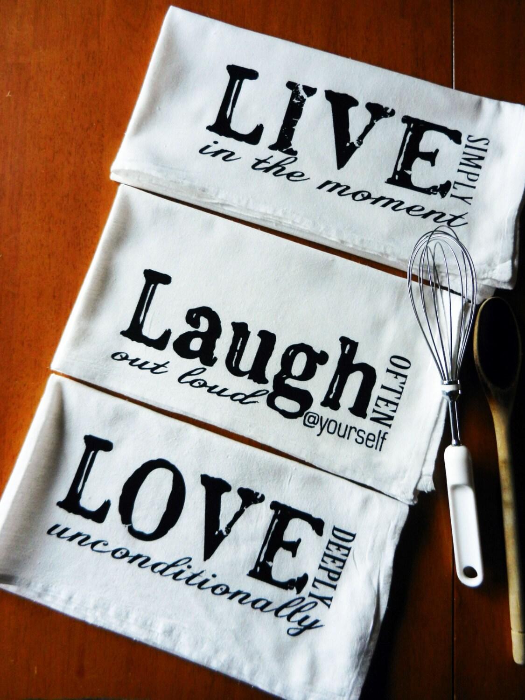 Items Similar To Flour Sack Dish Towels Live Laugh Love
