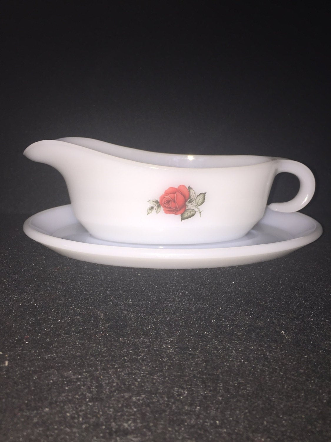Vintage Red Rose Gravy boat  Gravy jug  retro Phoenix Opalware  Red Rose gravy boat jug circa 1960  retro kitchen  milk glass boat