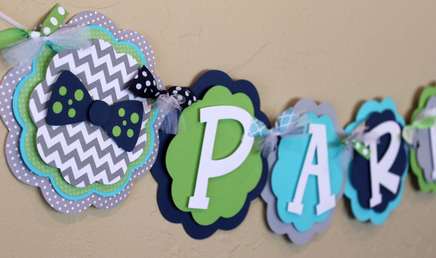 navy blue gray turquoise green baby shower birthday party decoration