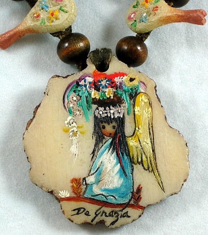 Vintage De Grazia Signed Art Squash Blossom By