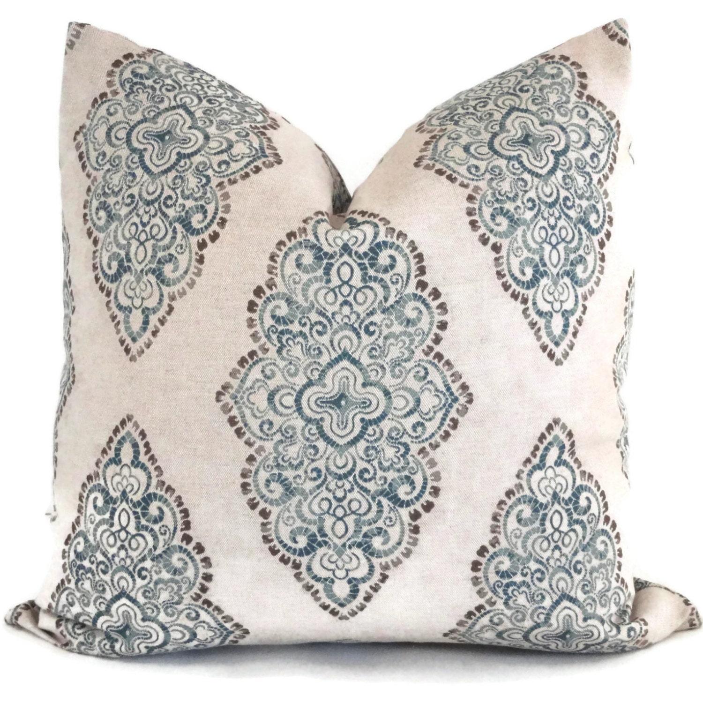 Blue Medallion Throw Pillows : Indigo Blue Medallion Decorative Pillow Cover 18x18 by PopOColor