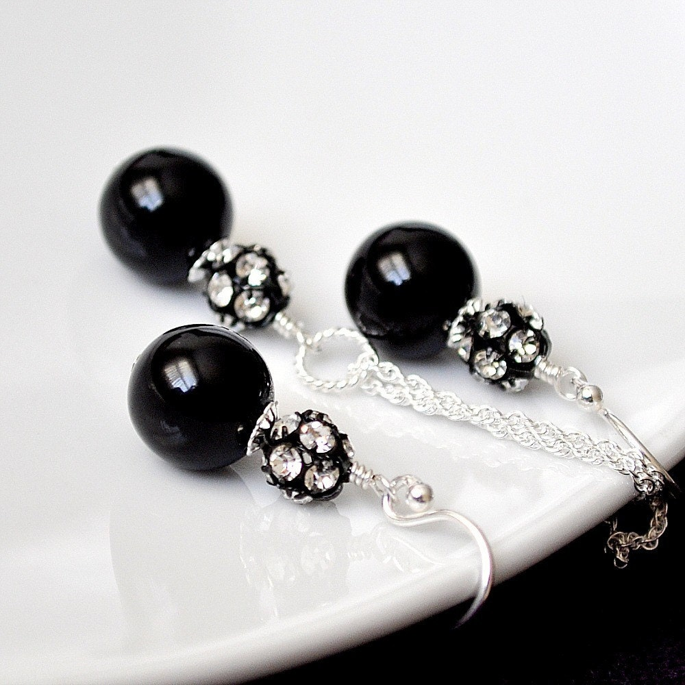 black bridesmaid jewelry sets black pearl by somethingjeweled. Black Bedroom Furniture Sets. Home Design Ideas