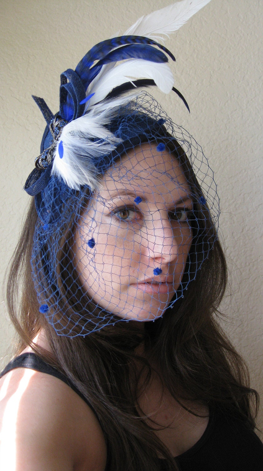 TANDY -- Sapphire Royal Cobalt Something Blue Wedding Bridal Sinamay Chenille Birdcage Veil Feather Headband Headpiece