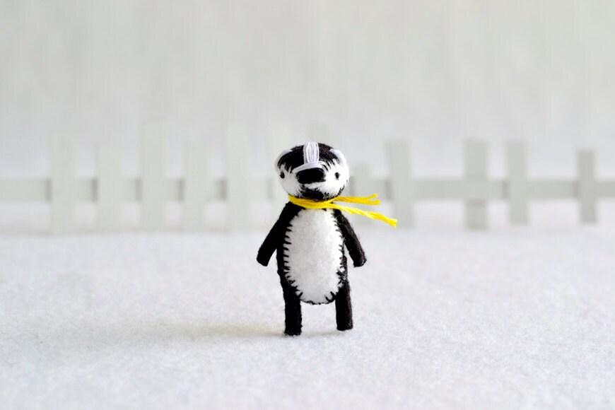 mr. badger - miniature felt pocket woodland badger by royalmint