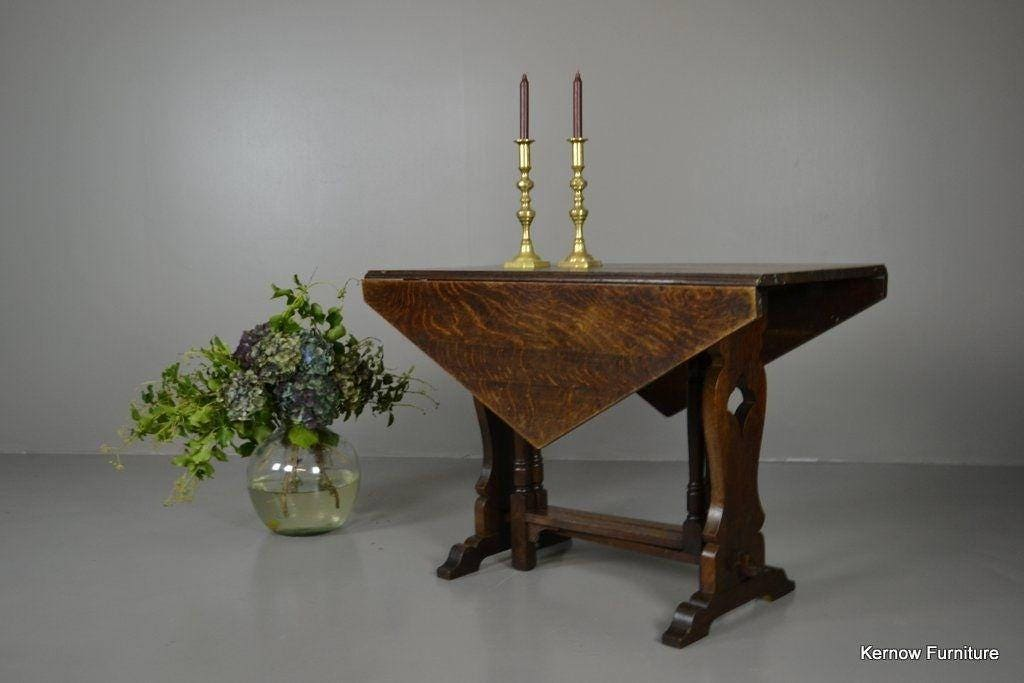 Antique Oak Drop Leaf Dining Kitchen Table