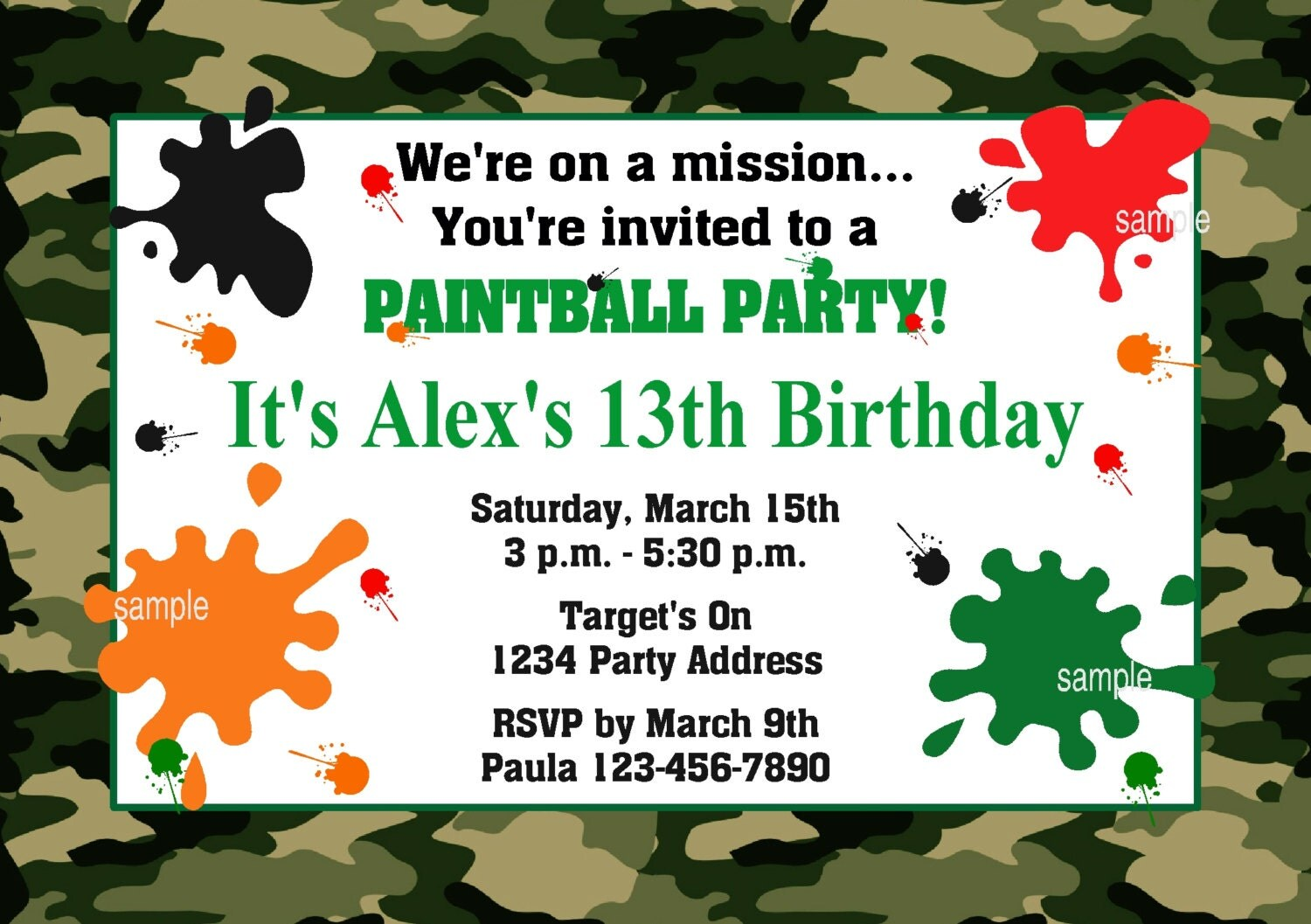 40th Birthday Ideas Free Printable Paintball Invitation Templates
