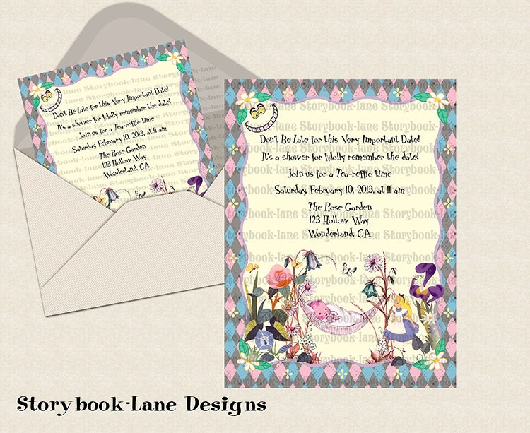 alice in wonderland baby shower invitation by storybooklanedesigns