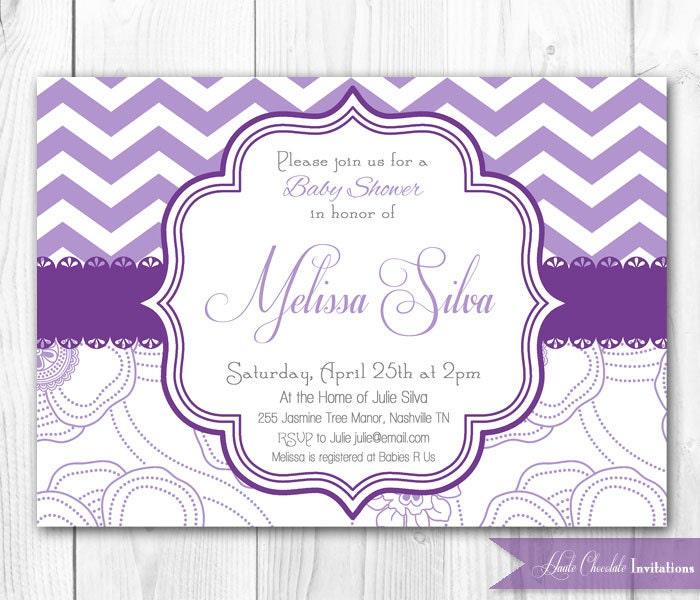 purple lavender bridal shower invitation shabby chic chevron diy
