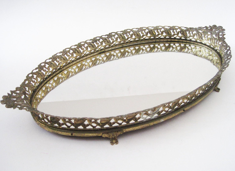 Vintage Oval Vanity Mirror Tray Filigree By Rhanvintage On
