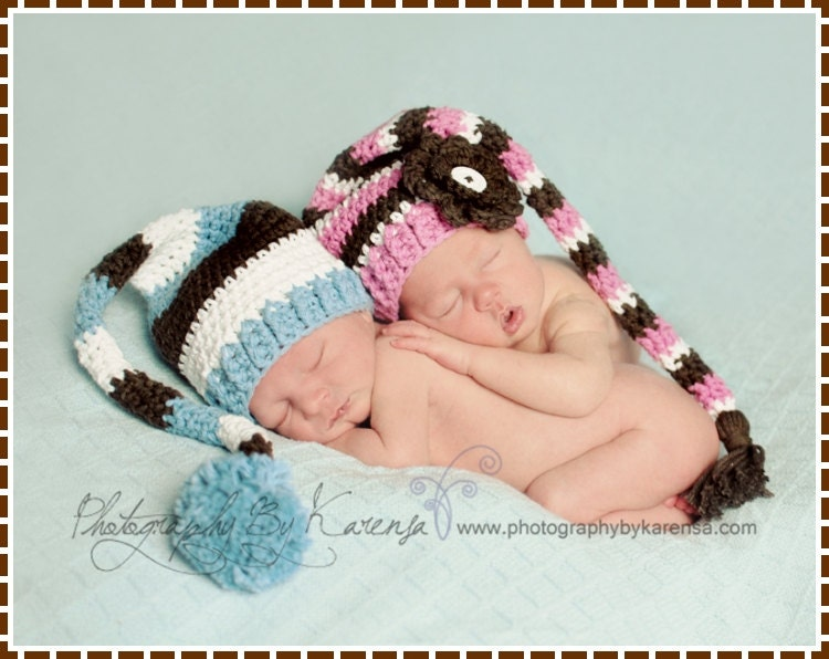 Free pattern crocheted striped stocking caps