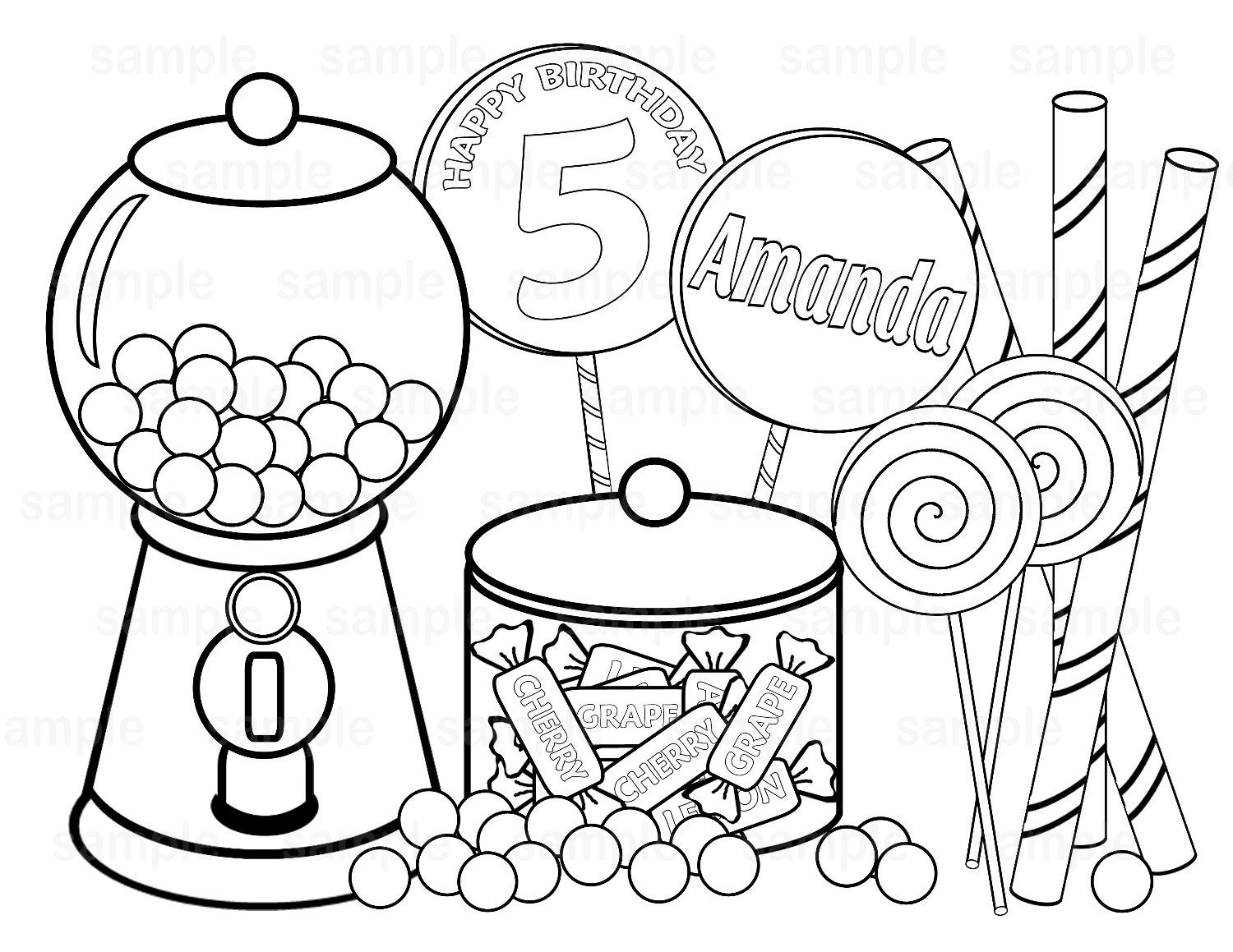 candy store coloring pages - personalized printable sweet shoppe candy by sugarpiestudio