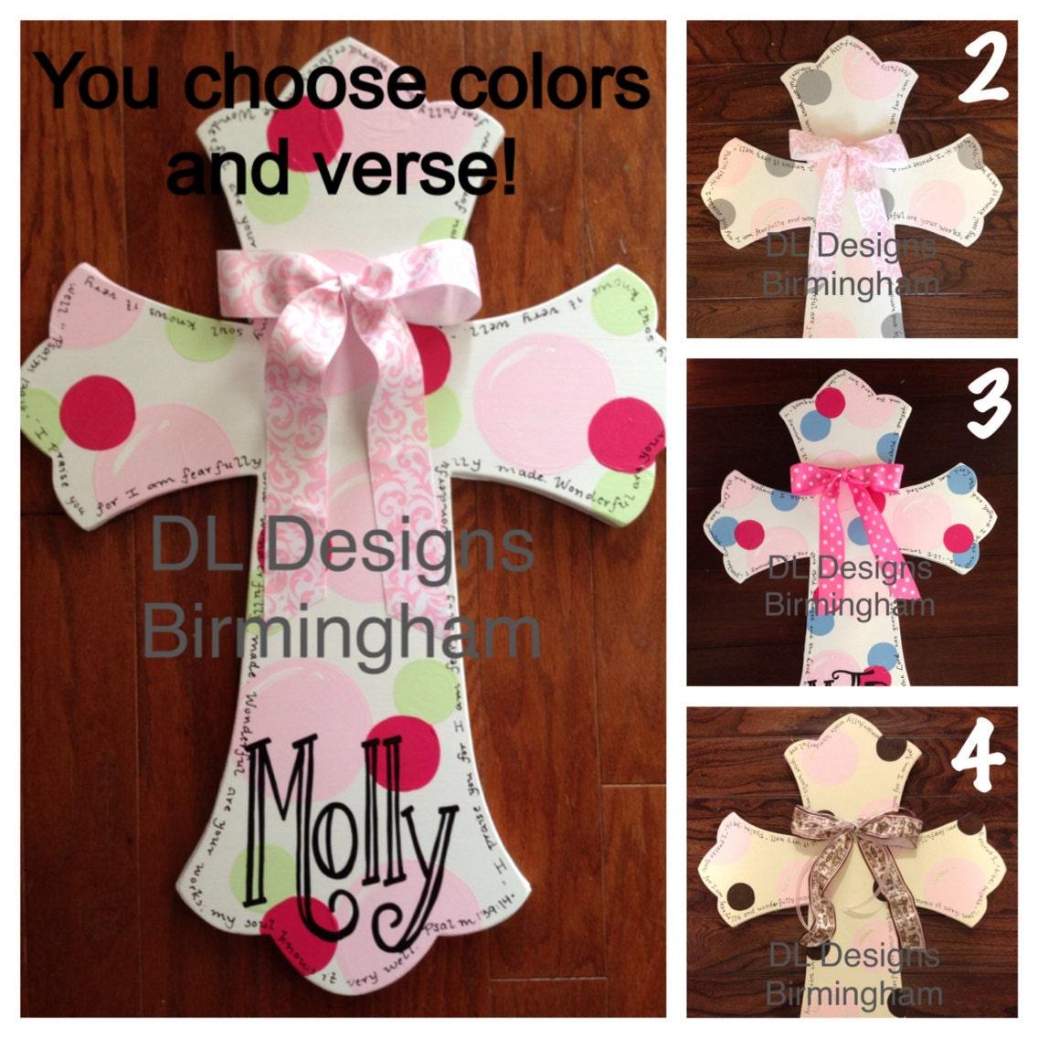 Custom baby girl cross hospital door hanger by for Baby girl hospital door decoration