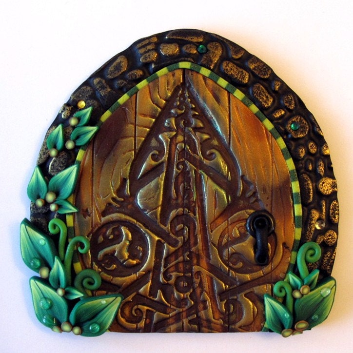 Celtic dew drop fairy door kids home decor wall art by for Celtic decorations home