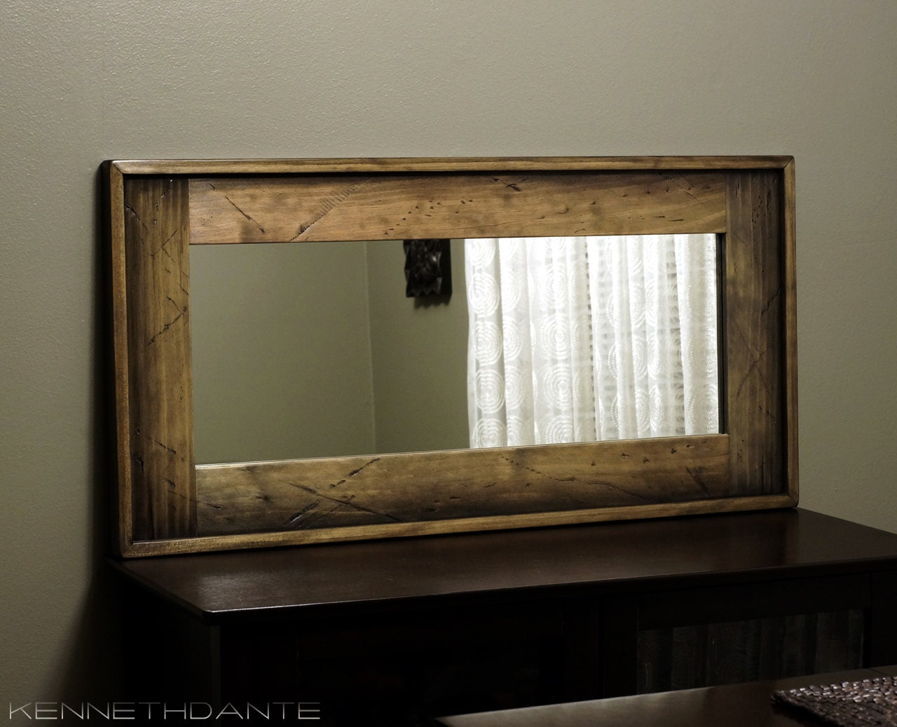Modern Rustic Wood Mirror Distressed Barn Bathroom By Kennethdante: Distressed Wood Framed Mirror In Brown Blue Red By