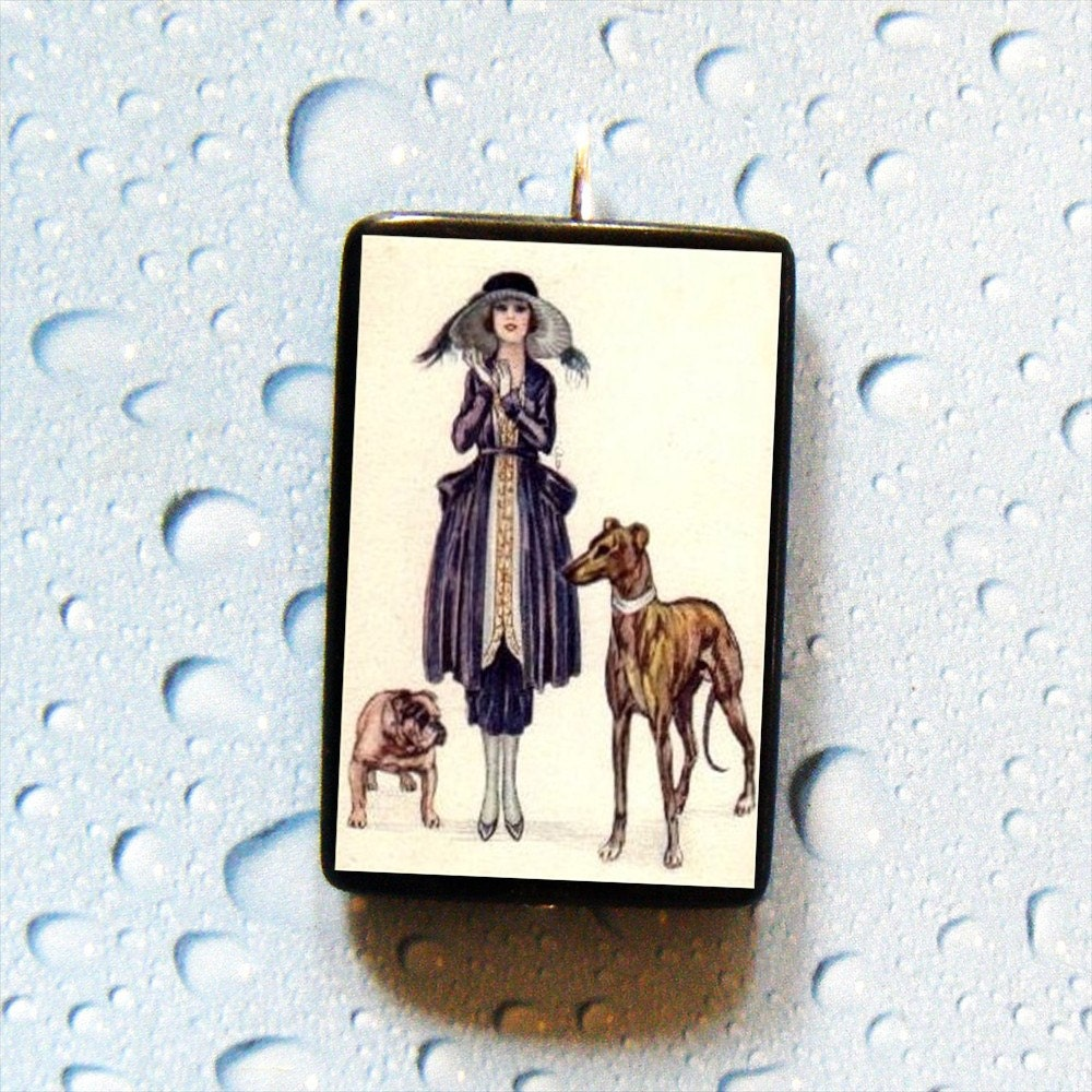 Fashionista BULL Dog and BORZOI Russian Wolfhound Pendant or Pin
