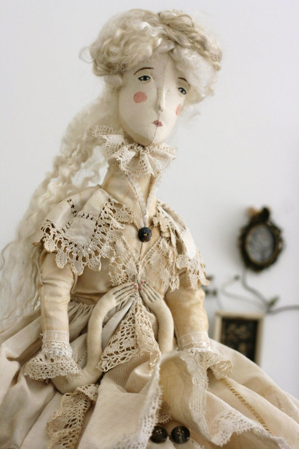 The Ghost of Jane Eyre ooak textile art doll soft sculpture