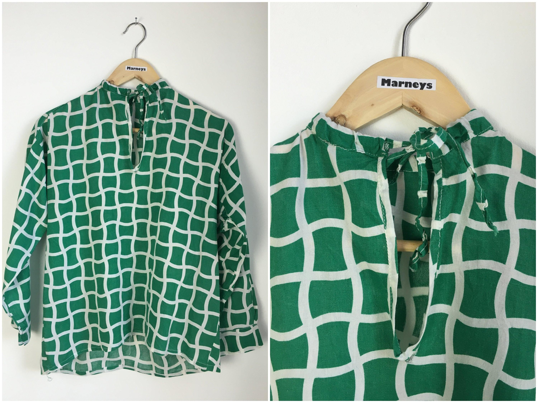 Vintage 1960s Top  60s Cotton Green Geometric Shirt  Long Sleeve  Loose Fitting  Hippie  UK 101214  Small  Medium   Bust 40