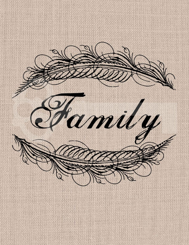 Family calligraphy frame feather graphic image by