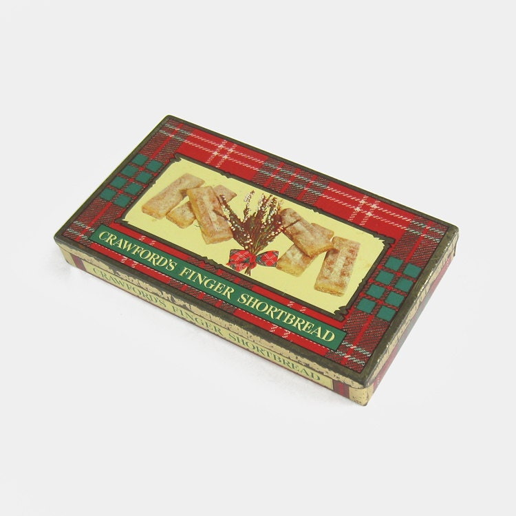 Vintage Scottish Shortbread Biscuit Tin by William Crawford  Sons  fingers tartan plaid kilt red green black white large Scotland British