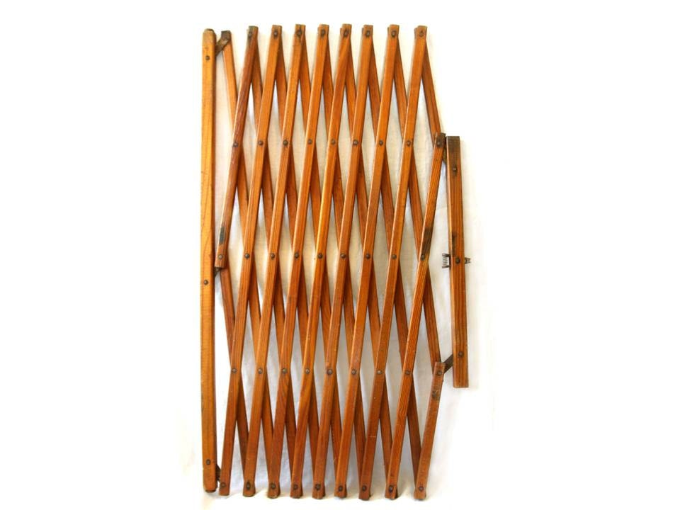 Accordion Style Wood Baby Gate Room Divider By