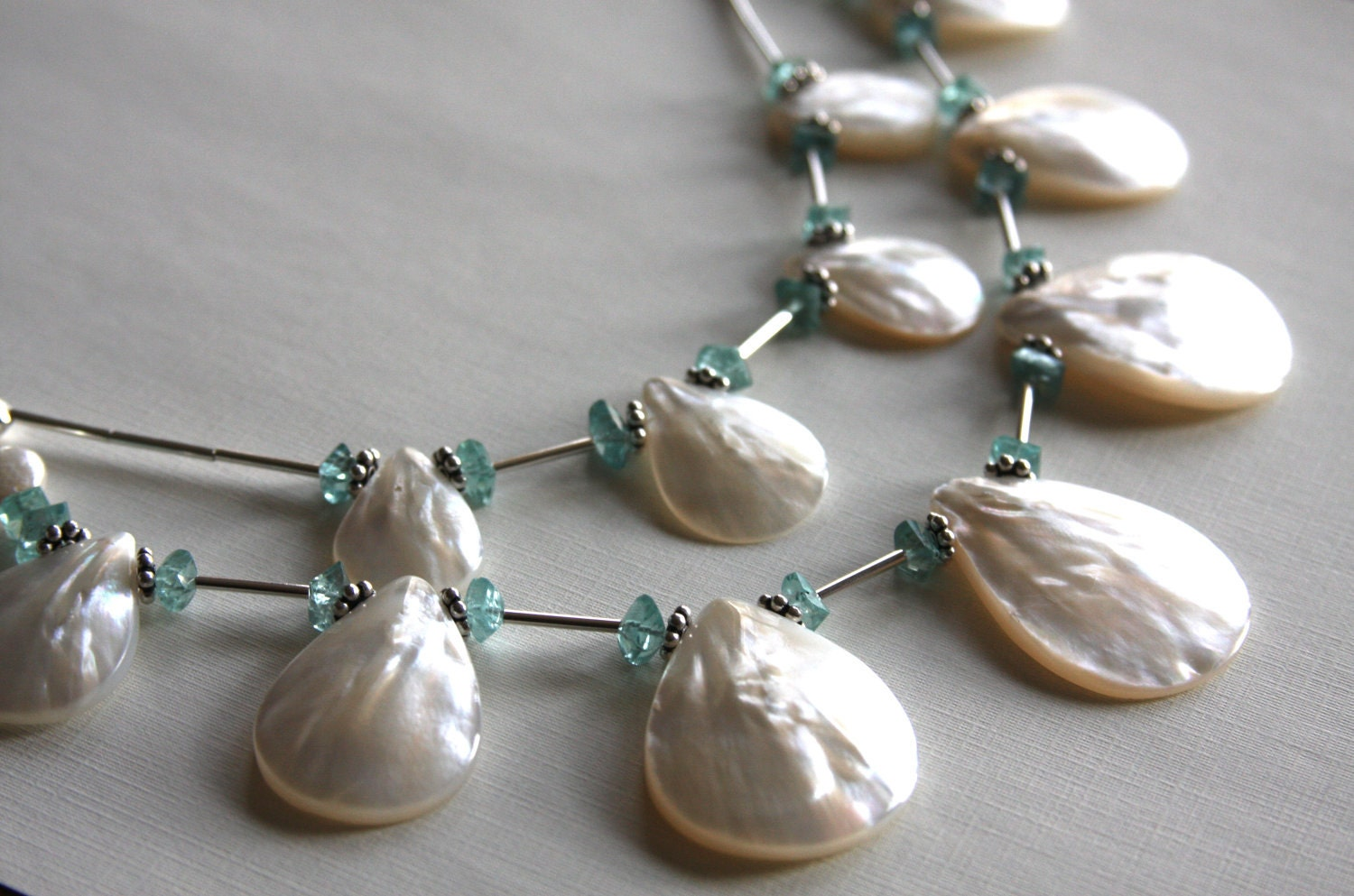 Two strand necklace made of Mother of Pearl, Apatite, and sterling silver - HollyMackDesigns