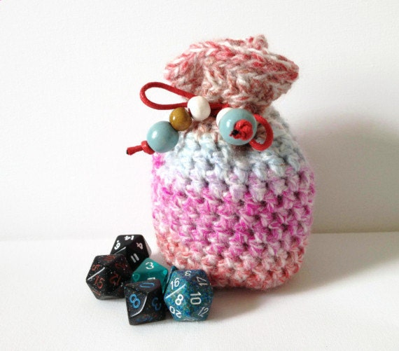 Small Dice Bag Hand Crocheted Drawstring by ScruffyDucksCrochet