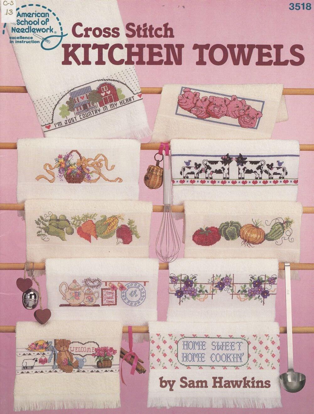 Kitchen towels cross stitch patterns 22 border by for Cross stitch kitchen designs