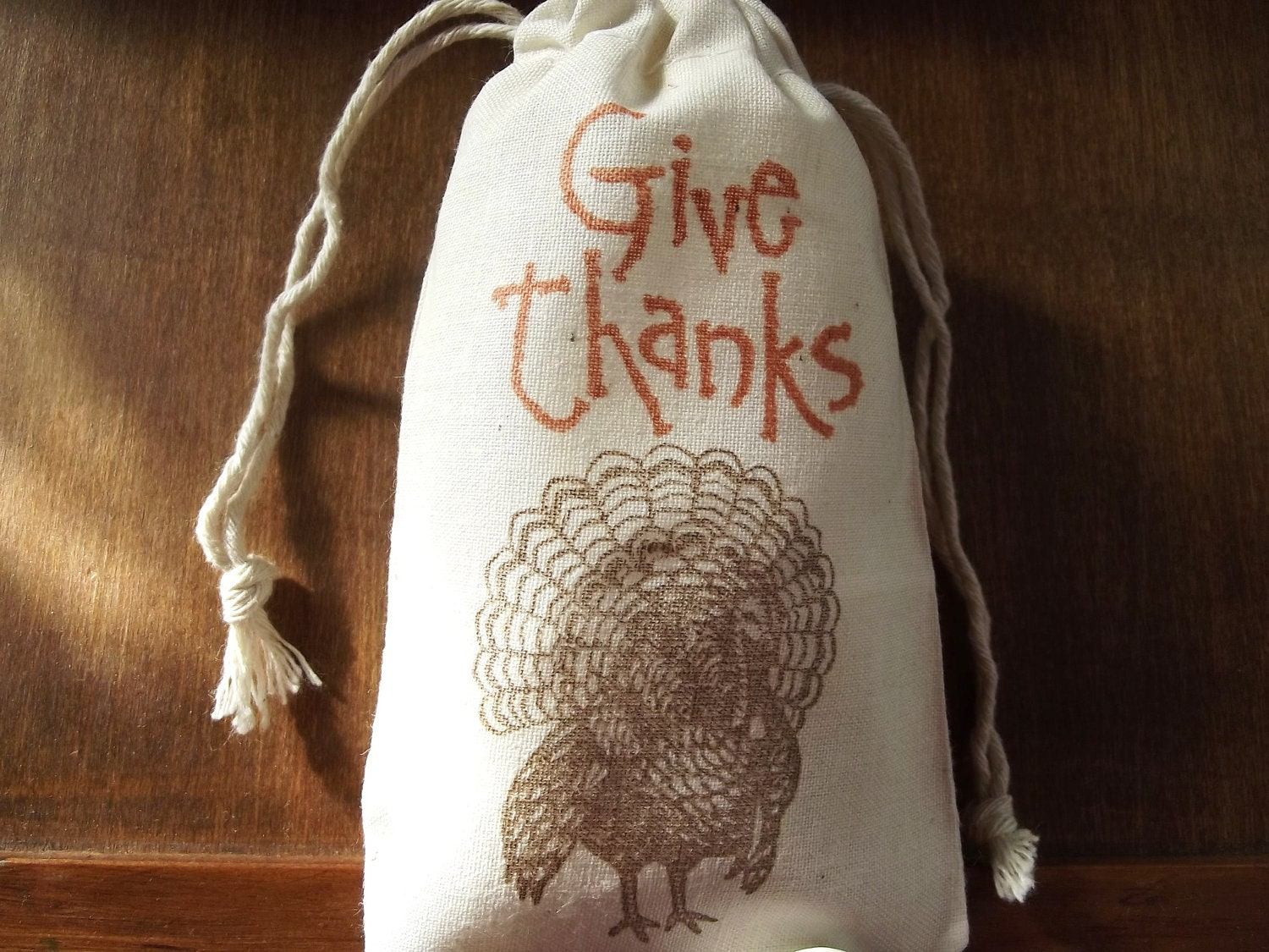 Give Thanks Thanksgiving Turkey  Muslin Favor Bag - andreakirk