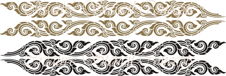 Classic thai border stencil on industry by creativestencils for Classic border design