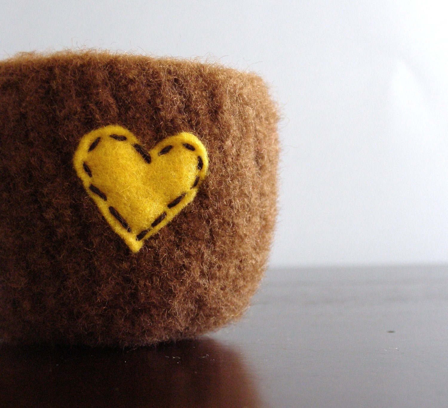 fuzzy felted chocolate brown wool bowl with golden eco felt heart - theFelterie