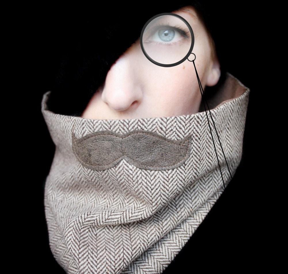 Mustache Scarf Cowl - History Professor Neckwarmer