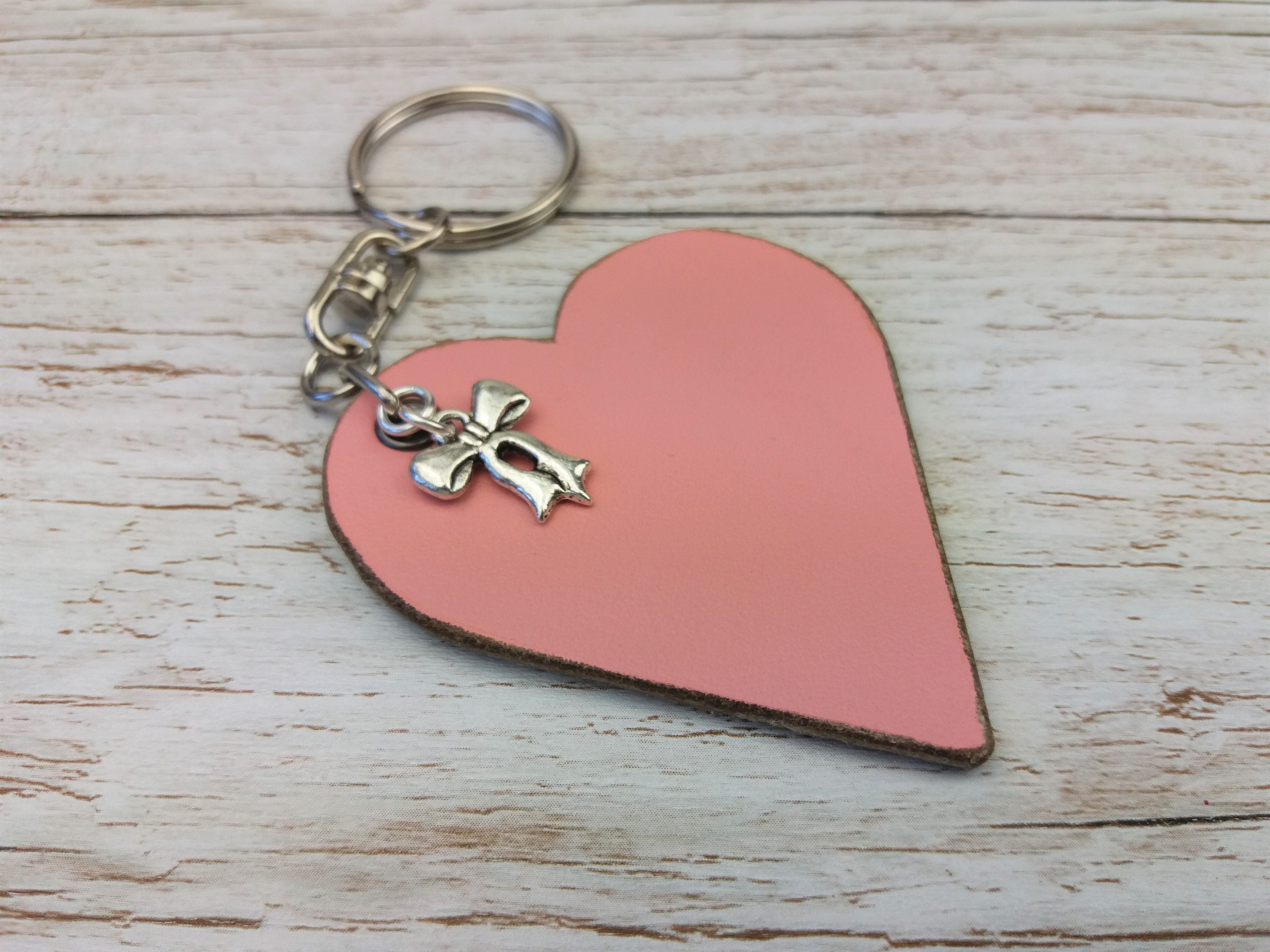 Leather Anniversary  3rd Anniversary Gift  3rd Wedding Anniversary  Leather Keyring  Leather Gift  Keychain Charms  Bow Charm