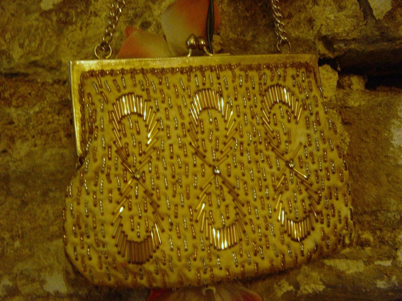 Vintage 1950s or 1960s Gold Beaded Clutch Bridal Bag Handbag