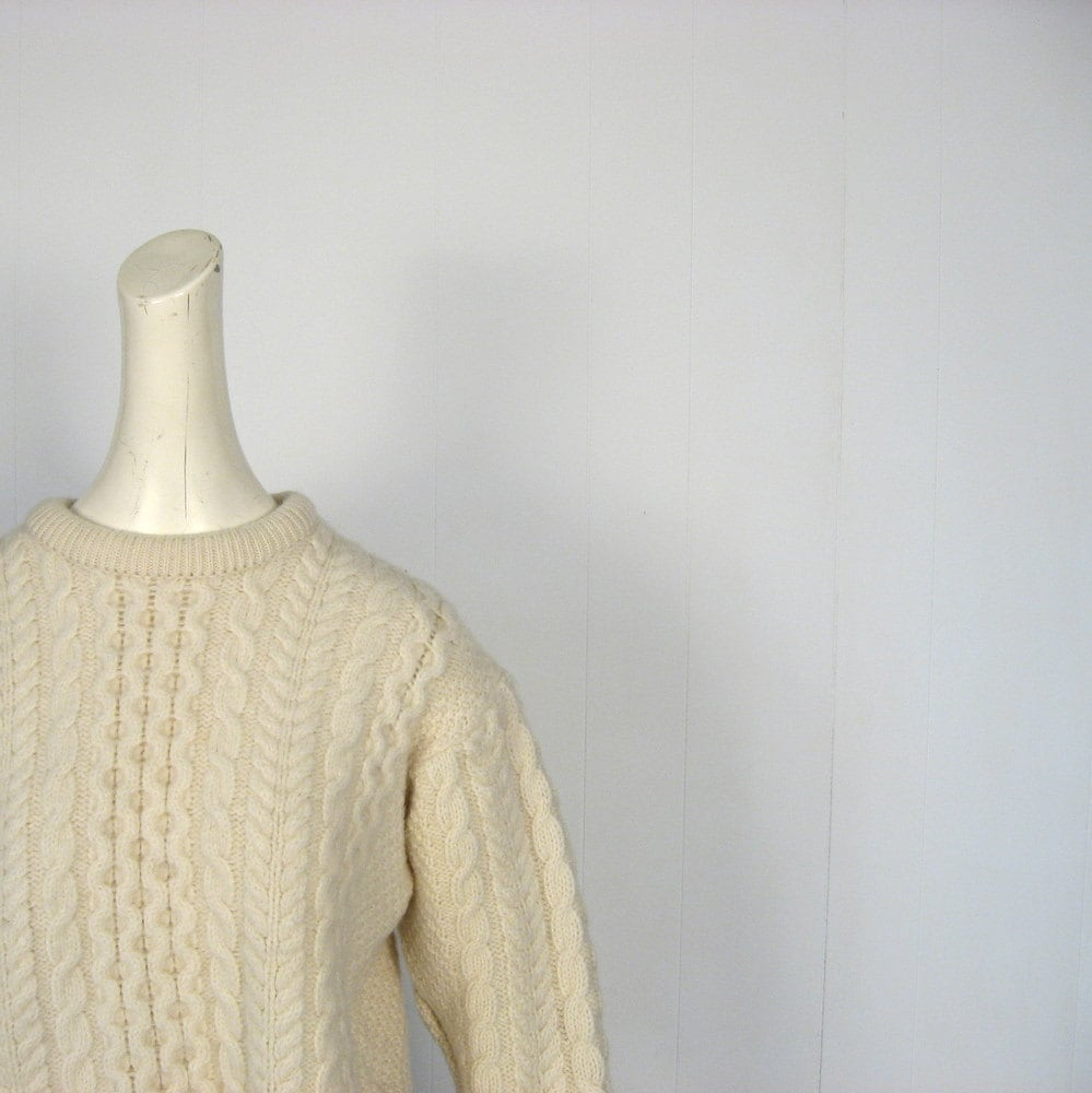 LL Bean Sweater / Irish Fisherman Sweater / Cream Wool / M L - SmallEarthVintage