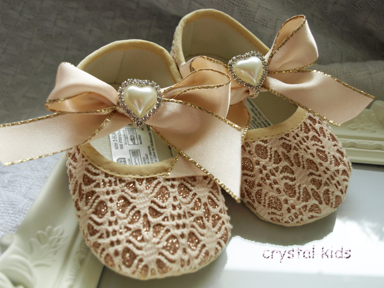 Unique Baby Girls Fairytale Princess Reborn Christening Wedding Gold Sparkly Crystal Pram Shoes 06 6121218 Months