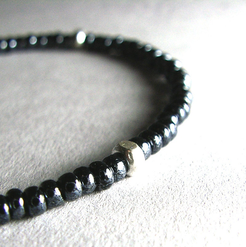 Hematite Vintage Glass Beaded Bracelet, Sterling Silver, Friendship Bracelet - ZhivanaDesigns