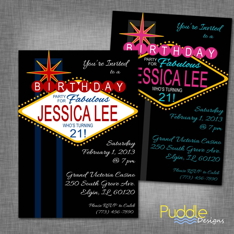 21st Birthday Vegas Party Invitation By PuddleDesign On Etsy