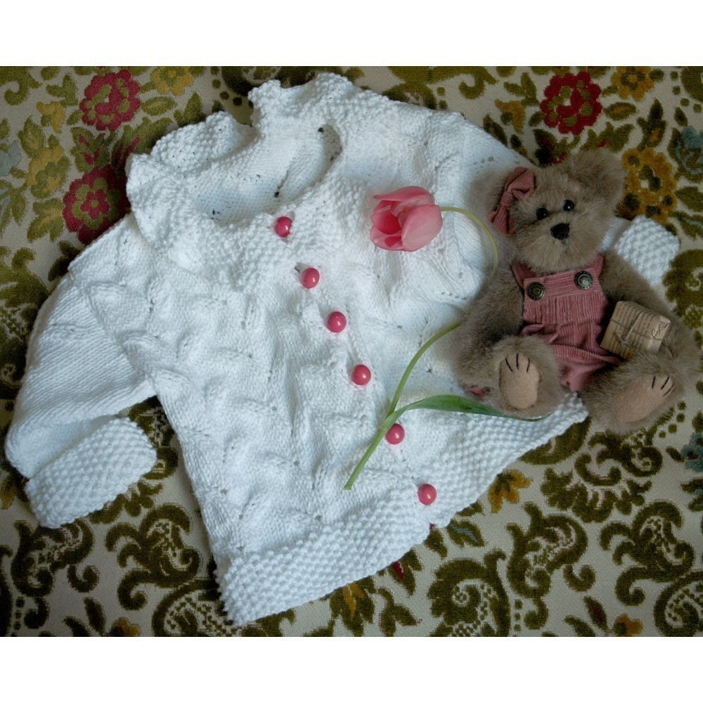 Online Knitting Patterns : Items similar to Emily Baby Sweater and Hat Knitting ...