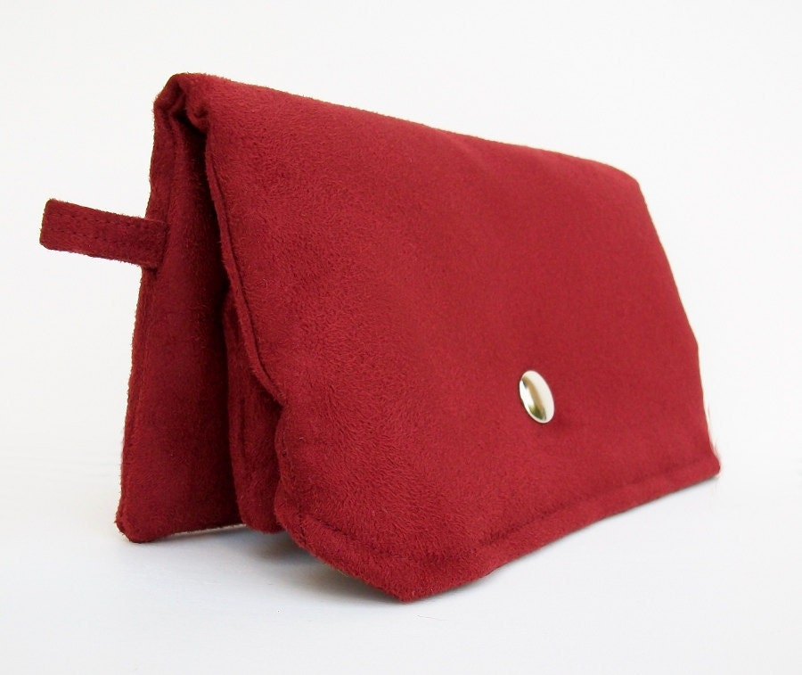 Handmade Red Clutch Wallet with Attached Zippered Pouch, Faux Suede Clutch, Womens Clutch Purse, Vegan, Red Clutch Purse