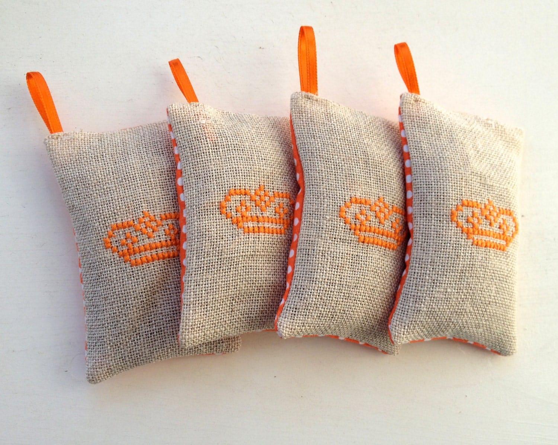 Handmade Royal Crown King Queen Lavender Sachet Orange Polkadot Fabric - NellysLittleGifts