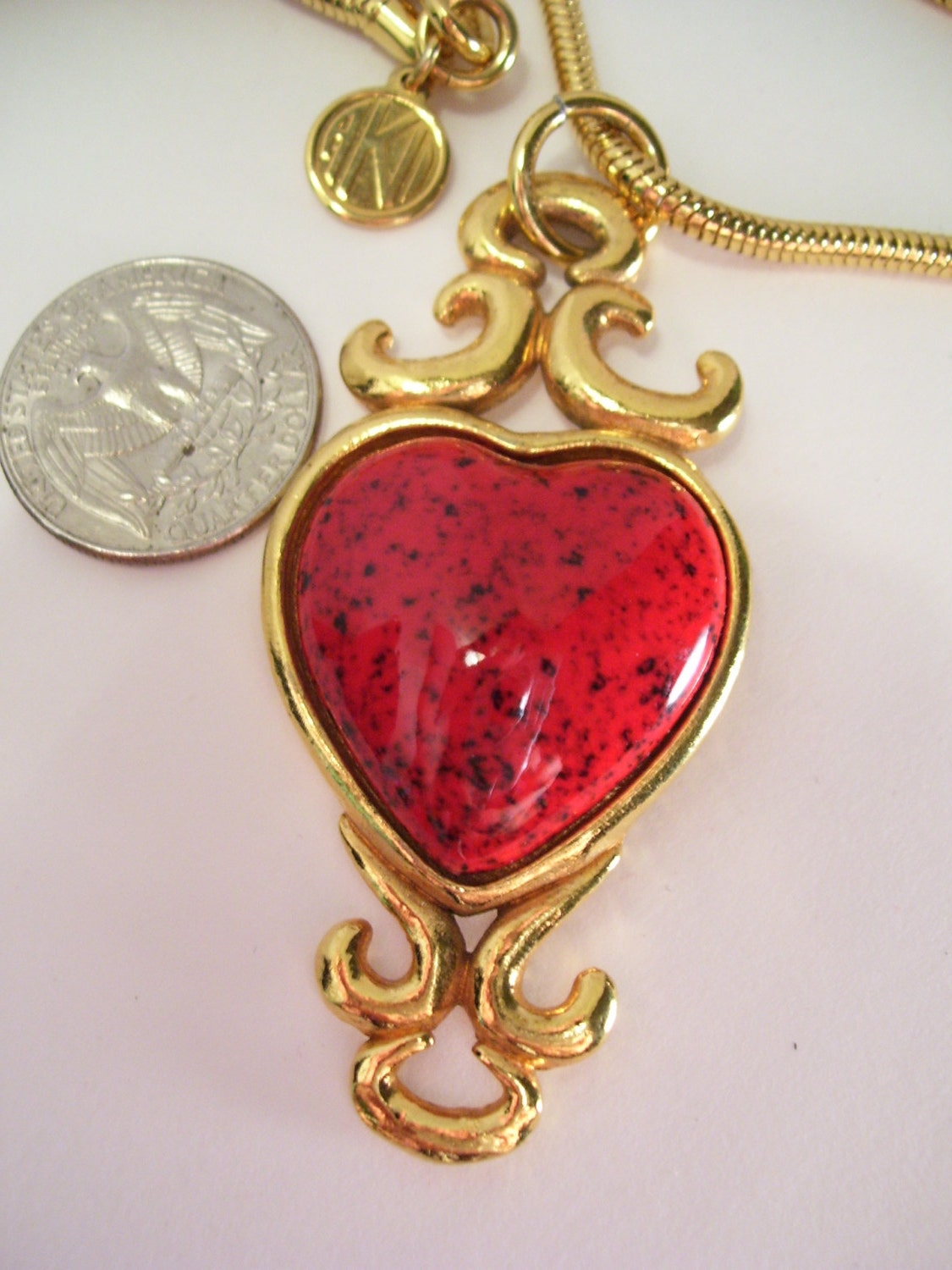 Anne Klein Valentine Red Heart Necklace Scroll Setting Long Snake Chain Signed - cachecastle